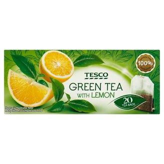 Tesco Zelený čaj s citrónovou príchuťou 20 x 1,7 g