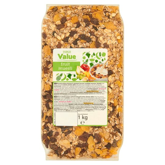 Tesco Value Fruit Muesli Muesli with Dried Fruit and Hazelnut Pieces 1 kg