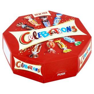 Celebrations Kolekcia mliečnych čokolád, sušienok a oplátok máčaných v mliečnej čokoláde 186 g