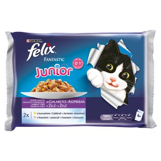 FELIX Fantastic Junior s kuraťom a lososom v želé 4 x 100 g