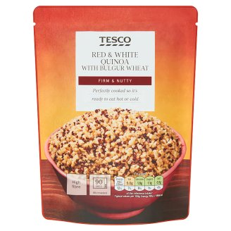 Tesco Predvarená zmes bielej quinoy, pšeničného bulguru a červenej quinoy 250 g