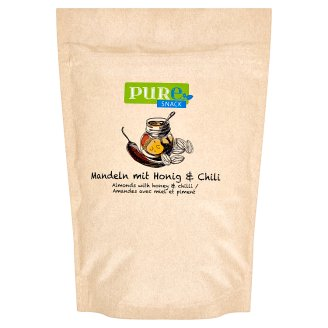 Pure Snack Pražené plátky blanšírovaných jadier mandlí s medom, soľou a s príchuťou chilli 125 g