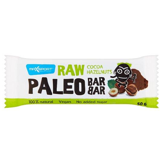 MaxSport Paleo Raw tyčinka s lieskovými orechmi a kakaom 50 g