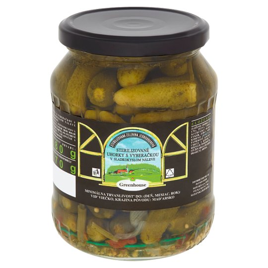 Greenhouse Sterilizované uhorky s vyberačkou v sladkokyslom náleve 680 g