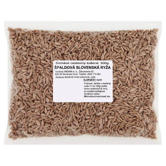 Domáce cestoviny sušené špaldová slovenská ryža 500 g
