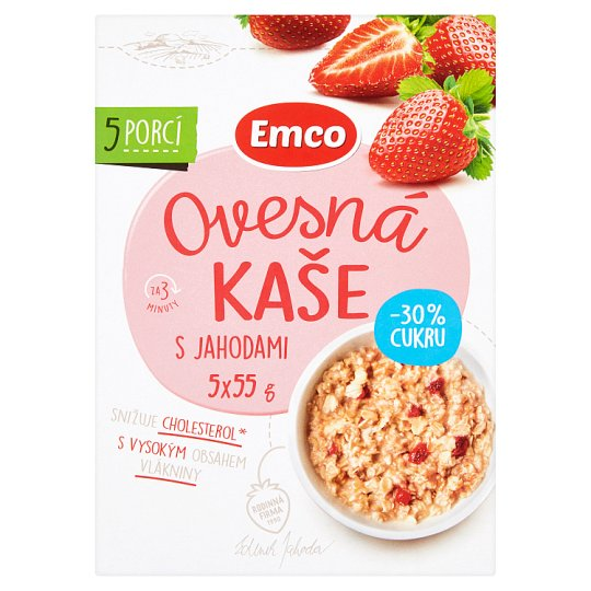 Emco Oatmeal Porridge with Strawberries 30% Less Sugar 5 x 55 g