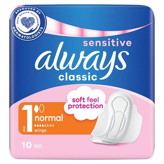 Always Classic Sensitive Normal Sanitary Towels Wings 10x