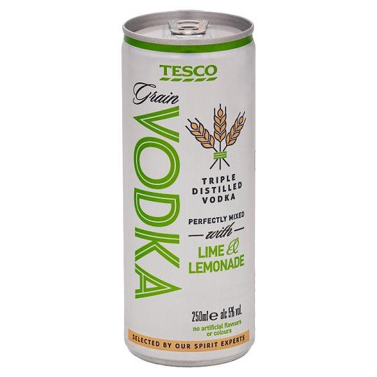 Tesco Grain Vodka with Lime & Lemonade 250 ml