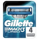 Gillette Mach3 Turbo Razor Blades For Men, 4 Refills