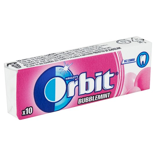 Wrigley's Orbit Bubblemint Sugar Free Chewing Gum with Fruit and Mint Flavour 10 pcs 14 g