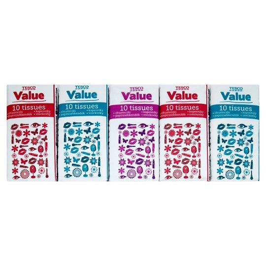 Tesco Value Papierové vreckovky 2-vrstvové 10 x 10 ks