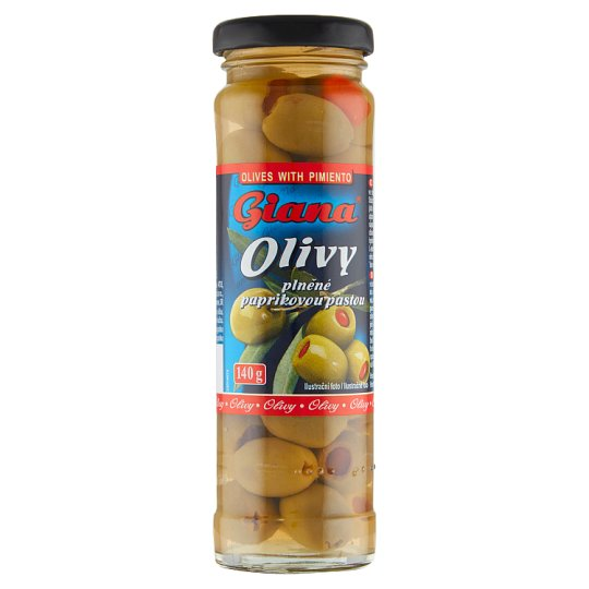 Giana Spanish Green Olives Filled with Pepper Paste in Brine 140 g