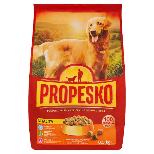 Propesko Complete Feed for Adult Dogs with Poultry, Beef and Vegetables 0.5 kg