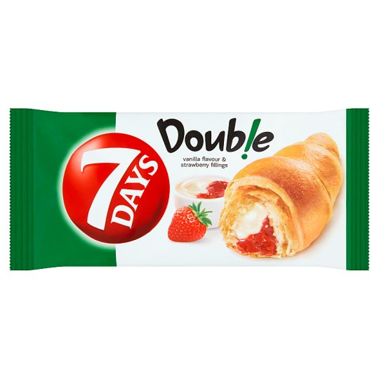 7 Days Double Croissant s náplňou s vanilkovou príchuťou a s jahodovou náplňou 60 g