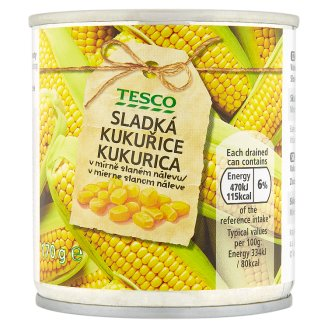 Tesco Sweet Corn Slightly in Brine 170 g