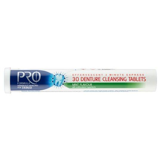 Tesco Pro Formula Mint čistiace tablety na zubnú náhradu 30 ks