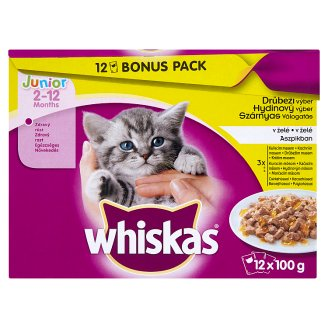 Whiskas Junior Hydinový výber v želé 12 x 100 g