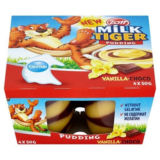 Zott Milk Tiger pudingový dezert vanilkovo-čokoládový 4 x 50 g