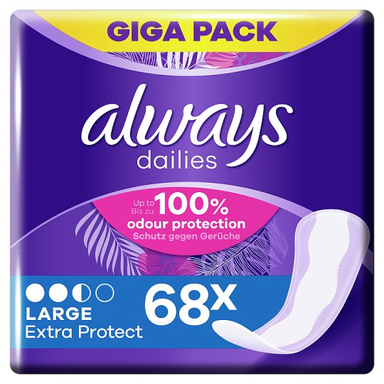 Always Dailies Extra Protect Panty Liners Large x 68