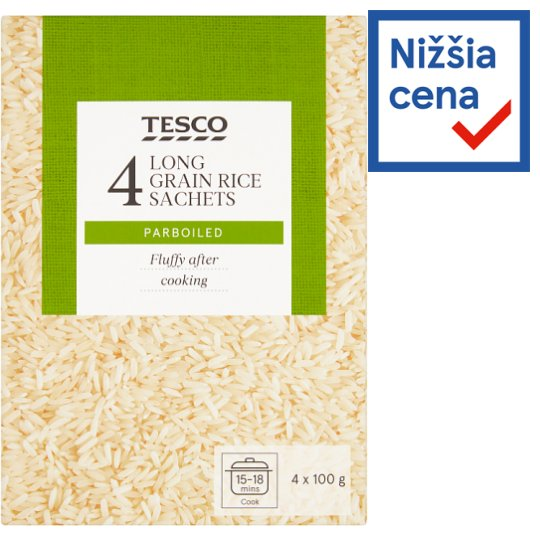 Tesco Long Grained Rice Sachets Parboiled 4 x 100 g