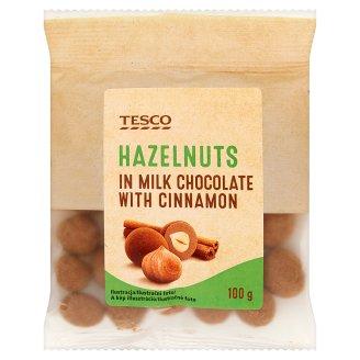 Tesco Lieskové orechy jadrá pražené v mliečnej čokoláde a škorici 100 g