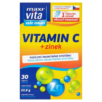 MaxiVita Vaše Zdraví Vitamín C + zinok 30 tabliet 22,8 g