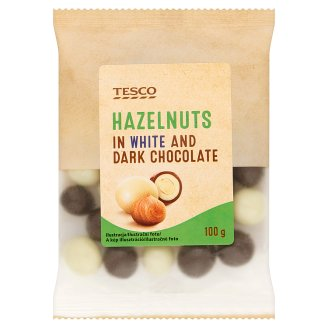 Tesco Hazelnuts in White and Dark Chocolate 100 g