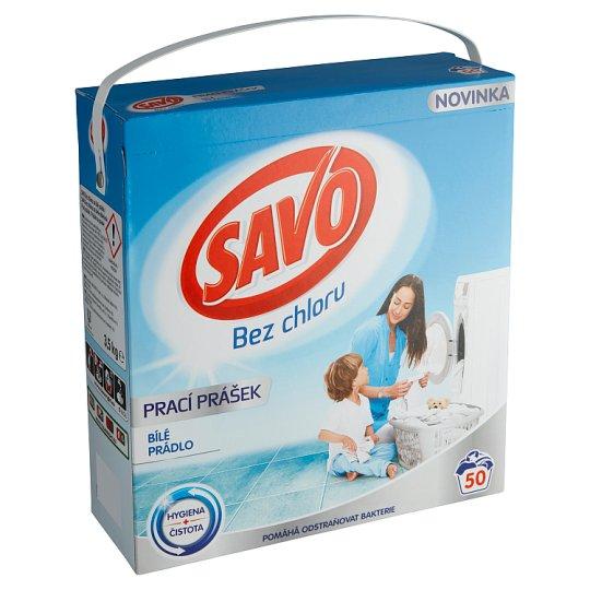 Savo Bez chlóru Prášok na pranie na biele oblečenie 50 praní 3,5 kg
