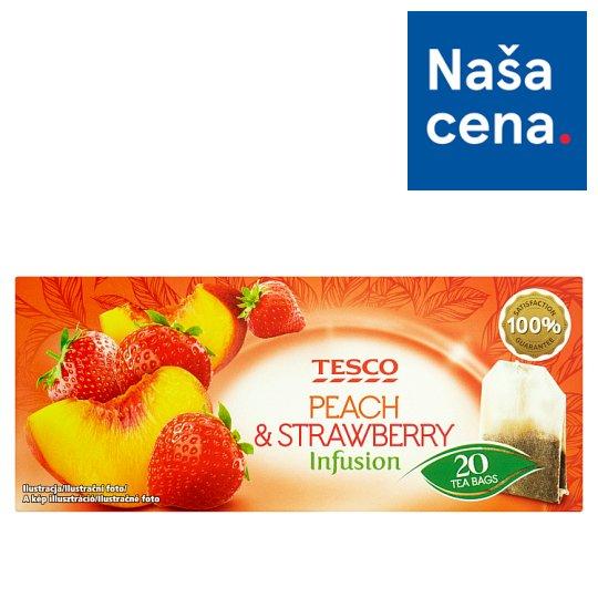 Tesco Ovocný čaj s príchuťou broskyne a jahody 20 x 2 g