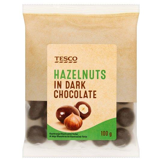 Tesco Lieskové orechy jadrá pražené v horkej čokoláde 100 g