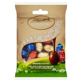 Lindt Lindor Mini Eggs Assorted Milk, Hot and White Chocolate with Fine Creamy Filling 100 g