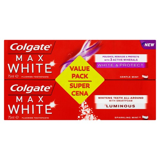 Colgate Max White White & Protect + Luminous zubná pasta 2 x 75 ml