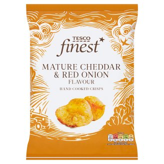 Tesco Finest Potato Chips Flavored with Cheddar and Red Onion 150 g
