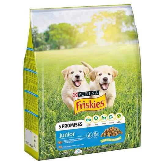 Friskies pre šteňatá Junior s kuraťom, zeleninou a mliekom 3 kg
