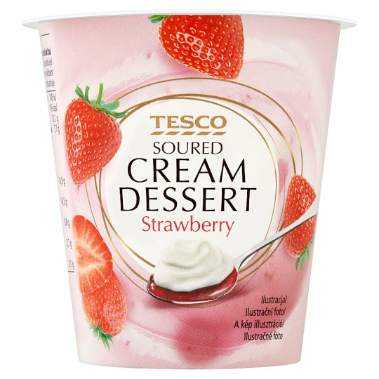 Tesco Soured Cream Dessert Strawberry 130 g
