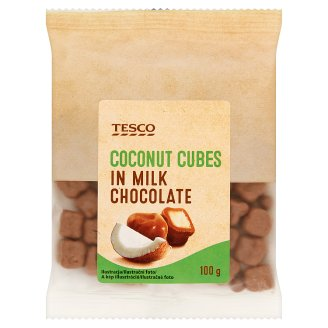 Tesco Coconut Cubes in Milk Chocolate 100 g