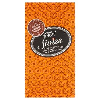 Tesco Finest Swiss horká čokoláda s kúskami s pomarančovou príchuťou a mandľami 100 g