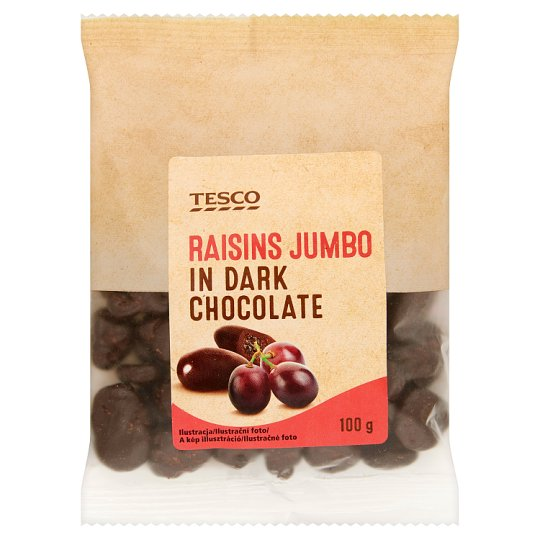 Tesco Raisins Jumbo in Dark Chocolate 100 g