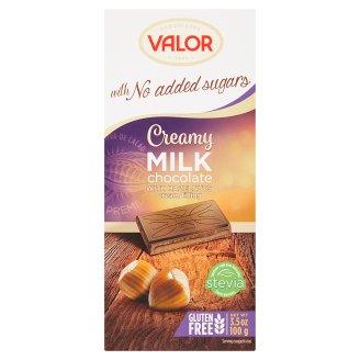 Valor Mliečna čokoláda plnená krémom s lieskovými orieškami bez prídavku cukru 100 g