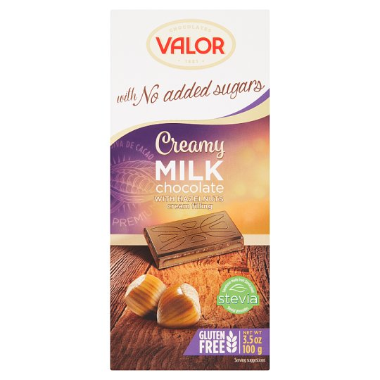 Valor Milk Chocolate with Cream Filling No Added Sugars 100 g