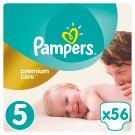 Pampers Premium Care Detské Jednorazové Plienky, Veľkosť 5 (Junior) 11 – 18 kg, 56 Kusov