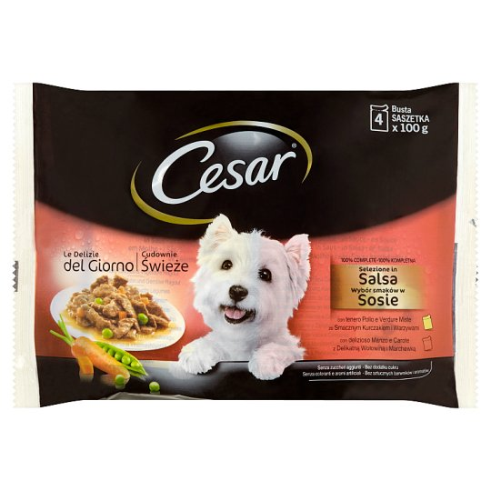 Cesar Selection in Sauce, Beef and Chicken with Vegetables 4 x 100 g