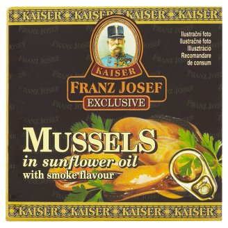 Kaiser Franz Josef Exclusive Mussels in Sunflower Oil with Smoked Flavour 80 g