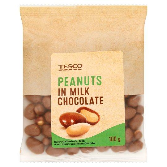 Tesco Arašidy jadrá pražené v mliečnej čokoláde 100 g