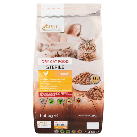 Tesco Pet Specialist Sterile Dry Cat Food with Poultry and Whole Grains 1.4 kg