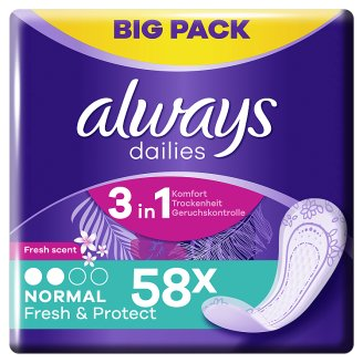 Always Dailies Fresh & Protect Panty Liners Normal Fresh x 58