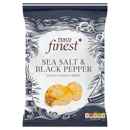 Tesco Finest Sea Salt & Black Pepper Hand Cooked Potato Crisps 150 g