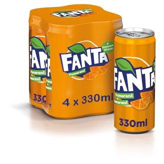 Fanta, pomarančová limonáda, 4 x 330 ml