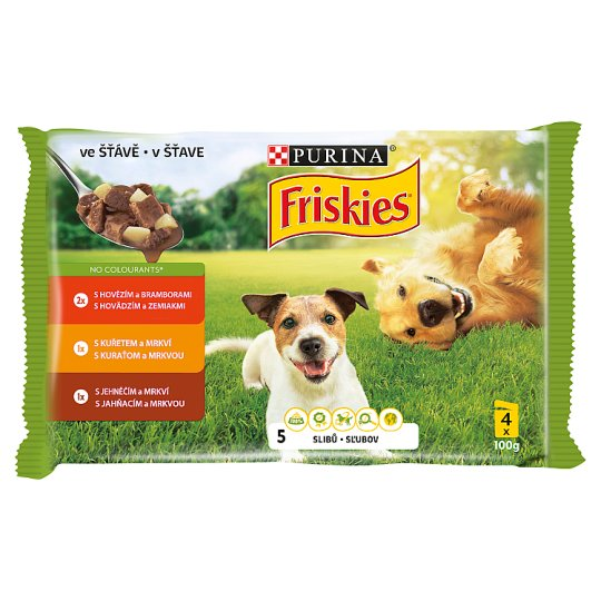 Friskies DOG VITAFIT Choice of Beef Chicken and Lamb in Juice 4 x 100 g