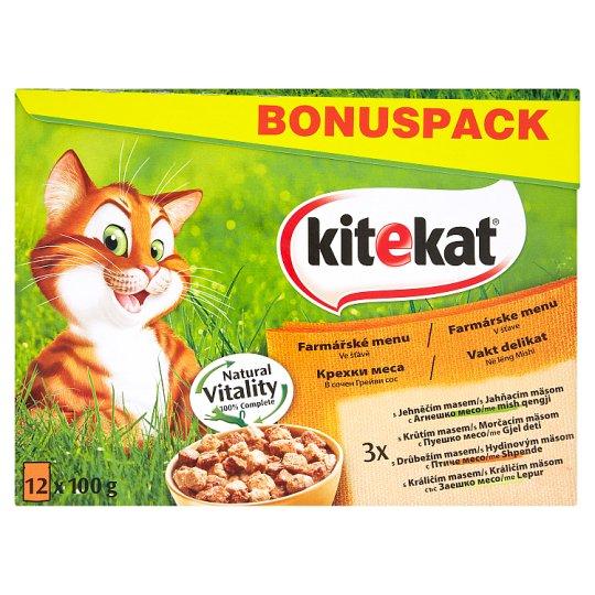 Kitekat Gazdovské menu v želé kompletné krmivo pre dospelé mačky 12 x 100 g